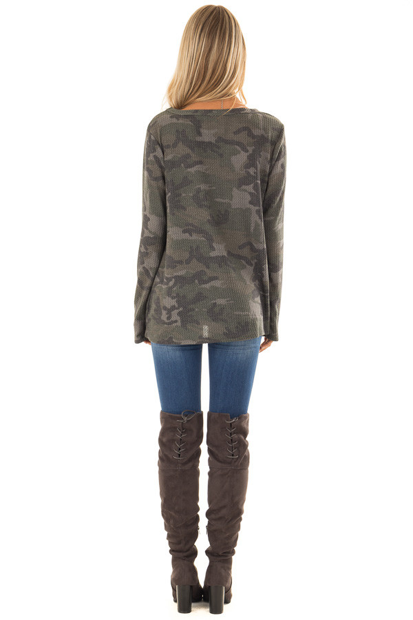 Olive Camo Print Waffle Knit Long Sleeve Top with Front Knot back full body