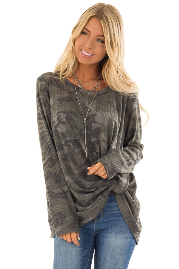 Olive Camo Print Waffle Knit Long Sleeve Top with Front Knot front full body