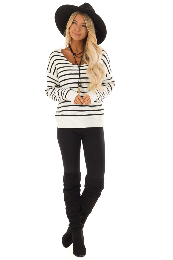 Black and White Striped Long Sleeve Sweater with Back Twist front full body