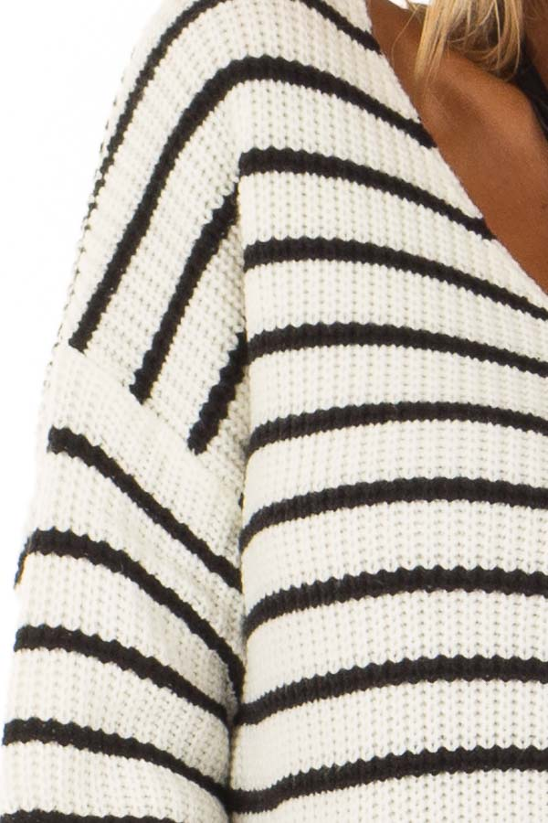 Black and White Striped Long Sleeve Sweater with Back Twist detail
