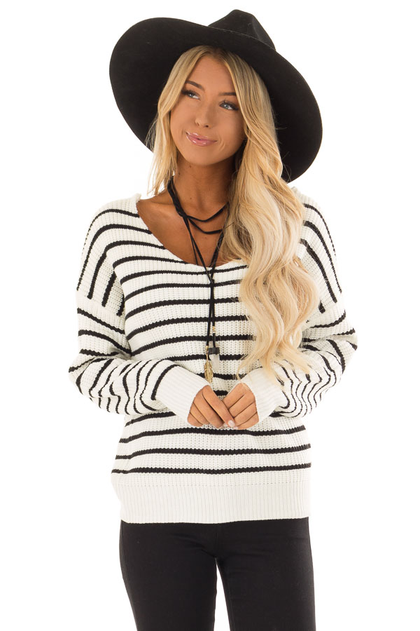 Black and White Striped Long Sleeve Sweater with Back Twist front close up