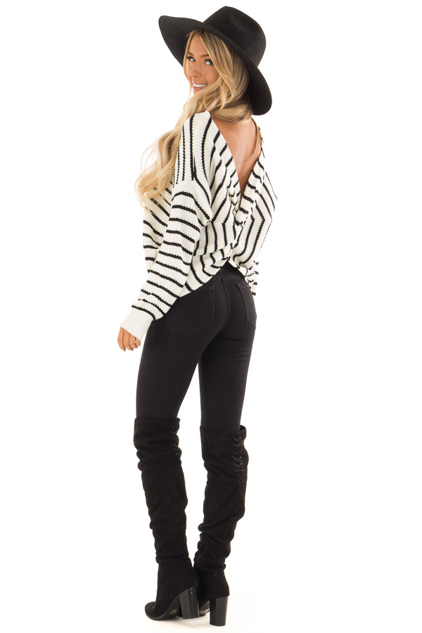 Black and White Striped Long Sleeve Sweater with Back Twist back side full body