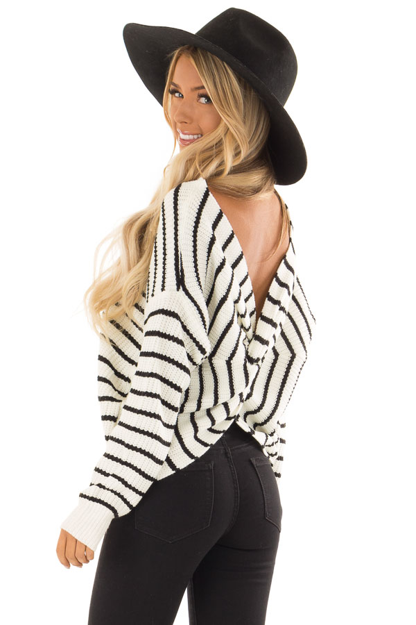 Black and White Striped Long Sleeve Sweater with Back Twist back side close up