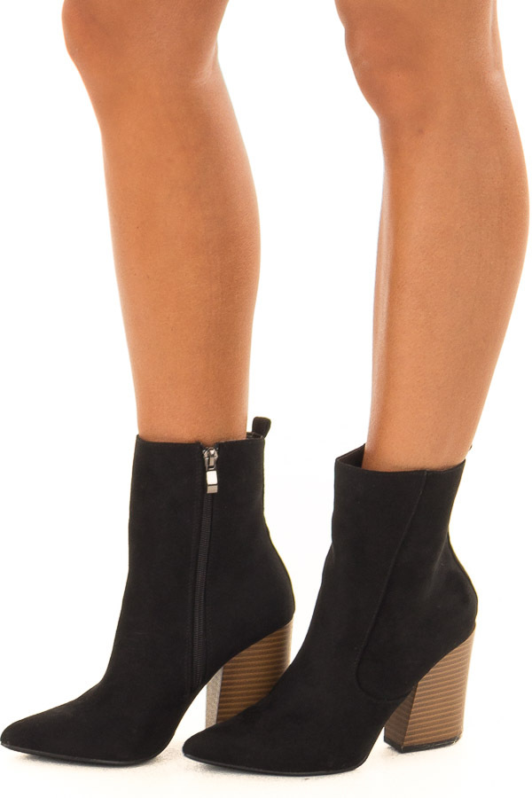 34e70101850 ... Black Faux Suede Chunky Heel Ankle Booties with Pointed Toe side view  ...