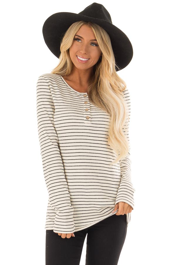 Black and Ivory Striped Ribbed Knit Long Sleeve Top front close up