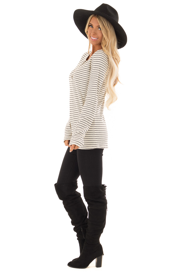 Black and Ivory Striped Ribbed Knit Long Sleeve Top side full body
