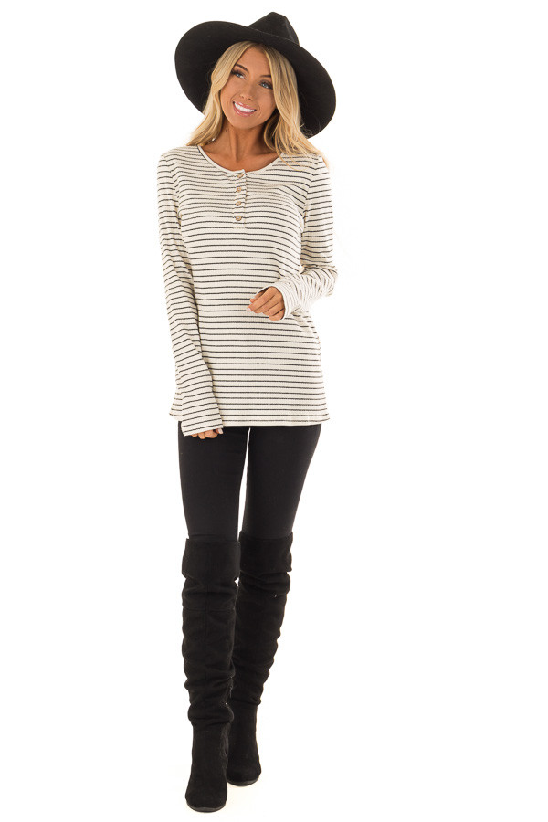 Black and Ivory Striped Ribbed Knit Long Sleeve Top front full body