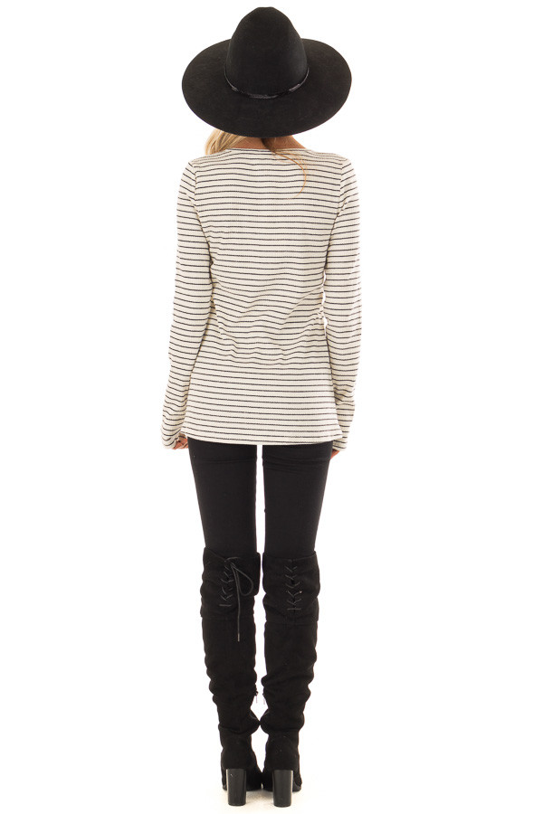 Black and Ivory Striped Ribbed Knit Long Sleeve Top back full body
