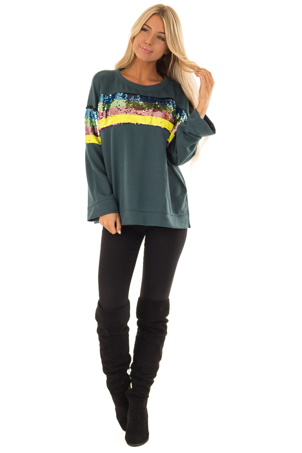 Forest Green Long Sleeve Top with Rainbow Sequin Detail front full body