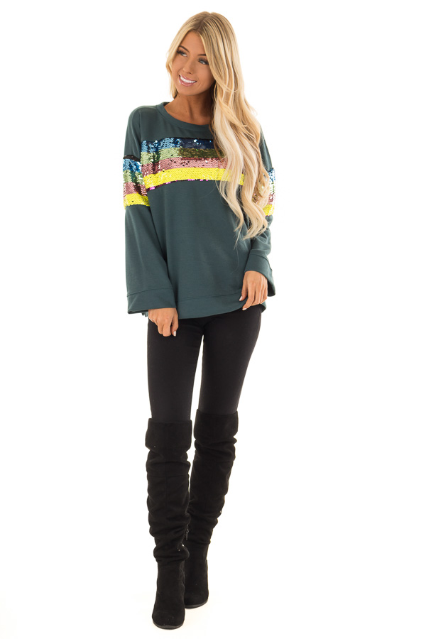 624ab935c023ff ... Forest Green Long Sleeve Top with Rainbow Sequin Detail front full body  ...