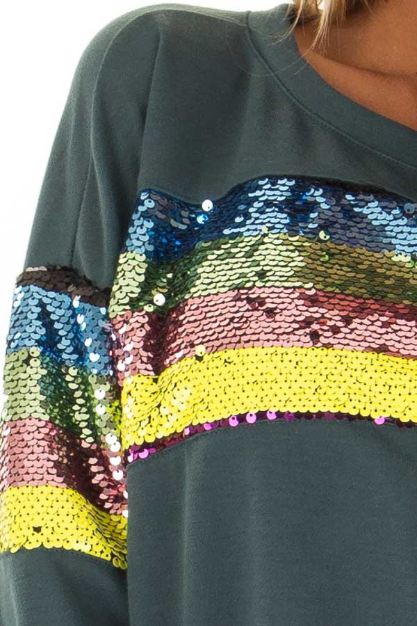 49ee2df1c209f8 Forest Green Long Sleeve Top with Rainbow Sequin Detail - Lime Lush ...