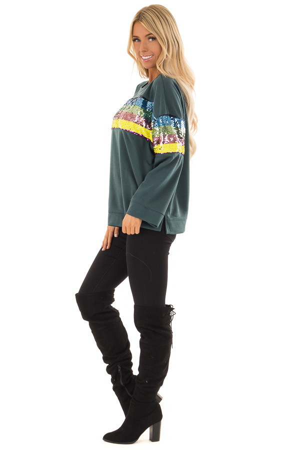 eea5660b985a9d ... Forest Green Long Sleeve Top with Rainbow Sequin Detail side full body  ...