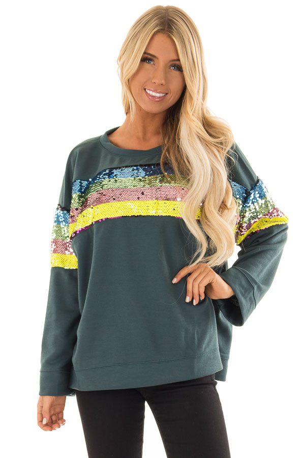 Forest Green Long Sleeve Top with Rainbow Sequin Detail front close up