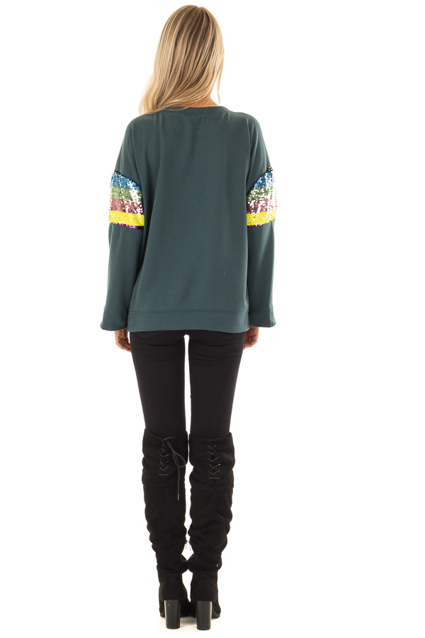 Forest Green Long Sleeve Top with Rainbow Sequin Detail back full body