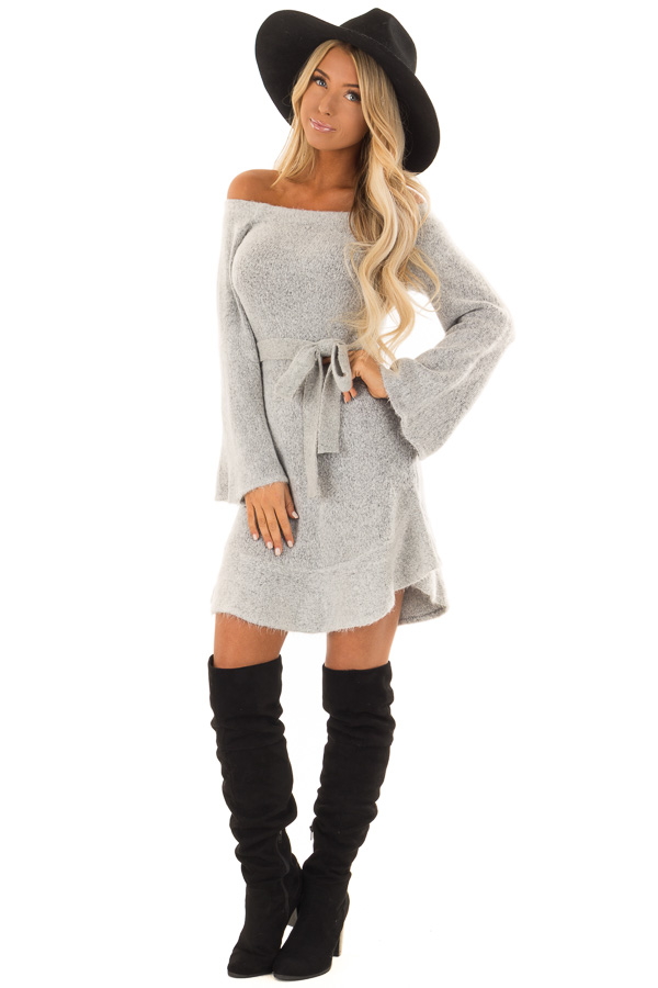 864fa7052ee ... Heather Grey Off the Shoulder Sweater Dress with Tie Detail front full  body ...