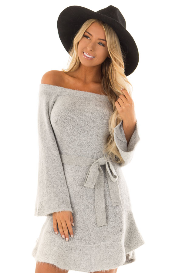 cb283c527f0 Heather Grey Off the Shoulder Sweater Dress with Tie Detail front close up