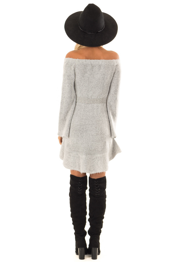 a05cdbf35a5 ... Heather Grey Off the Shoulder Sweater Dress with Tie Detail back full  body ...