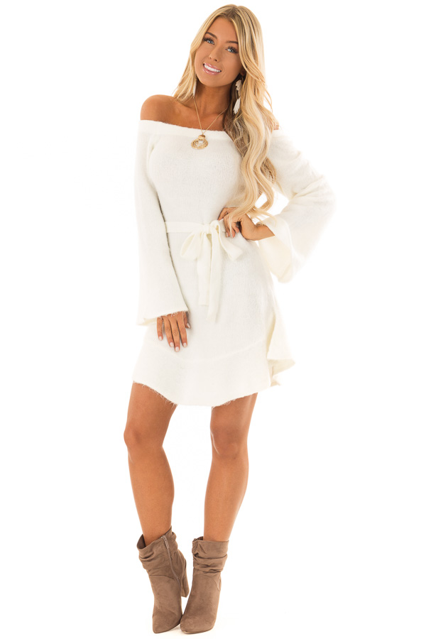 c917ad63c9a ... Ivory Off the Shoulder Sweater Dress with Tie Detail front full body ...