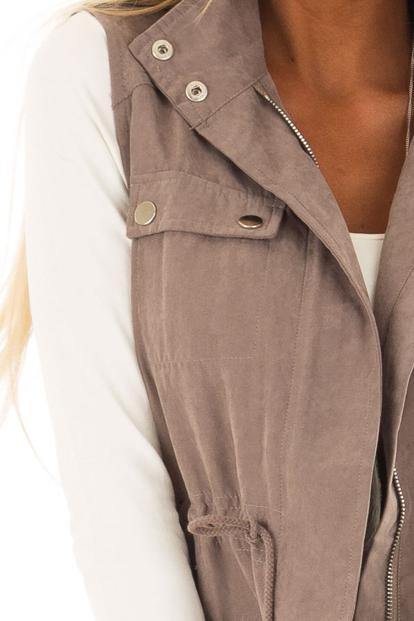 Dusty Sage Microsuede Vest with Geometric Print Contrast detail
