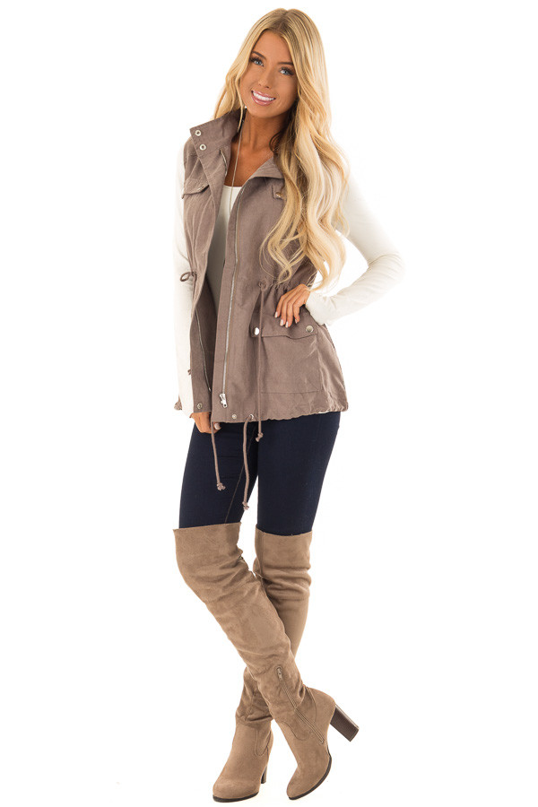 Dusty Sage Microsuede Vest with Geometric Print Contrast front full body