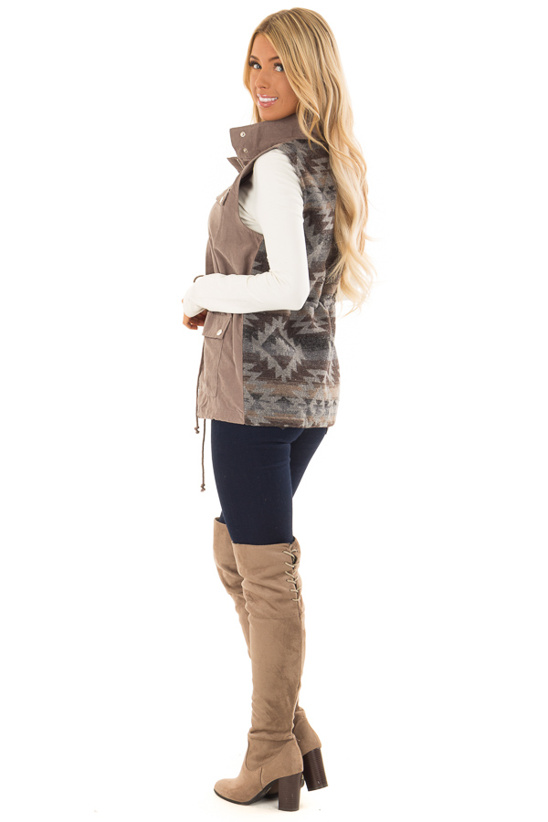 Dusty Sage Microsuede Vest with Geometric Print Contrast front full body back side full body