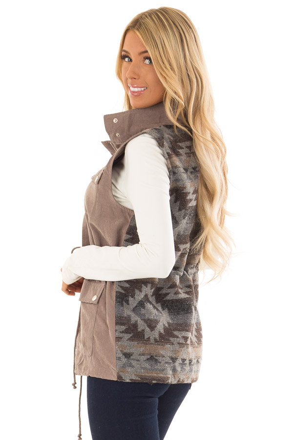 Dusty Sage Microsuede Vest with Geometric Print Contrast back side close up