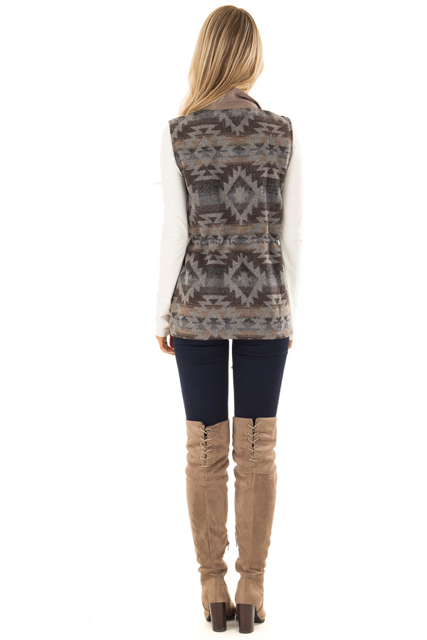 Dusty Sage Microsuede Vest with Geometric Print Contrast back full body