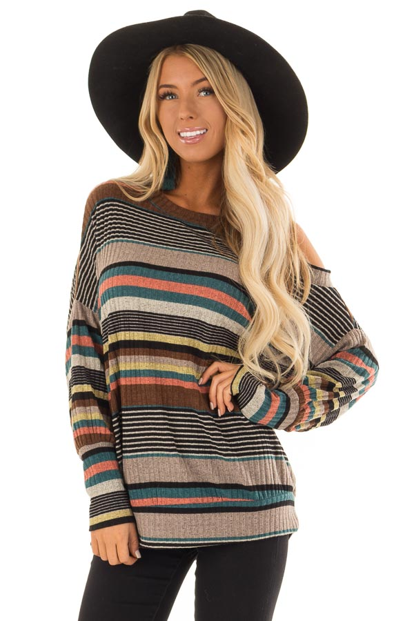 b703e42deca44 Multi Striped Top with One Cold Shoulder and Long Sleeves front close up