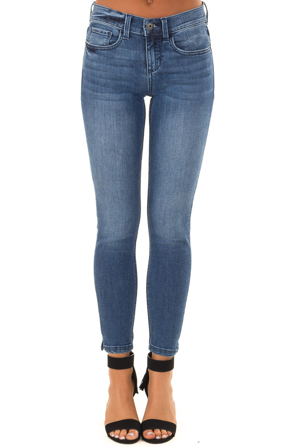 Medium Dark Mid Rise Skinny Jeans with Small Ankle Slits front view