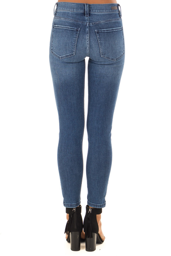 Medium Dark Mid Rise Skinny Jeans with Small Ankle Slits back view