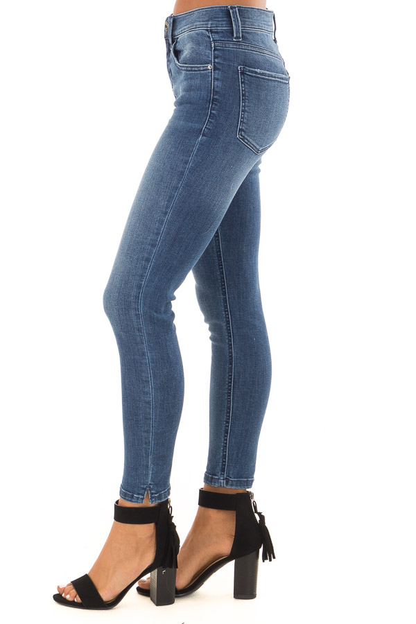 Medium Dark Mid Rise Skinny Jeans with Small Ankle Slits side view