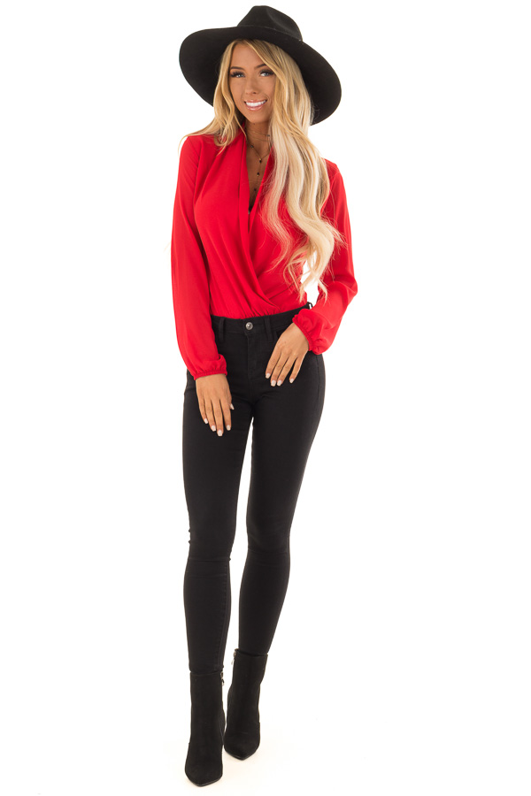 Candy Red Wrap Style Bodysuit with Long Sleeves front full body