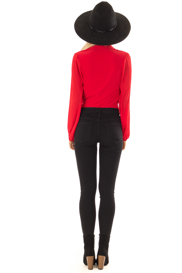 Candy Red Wrap Style Bodysuit with Long Sleeves back full body