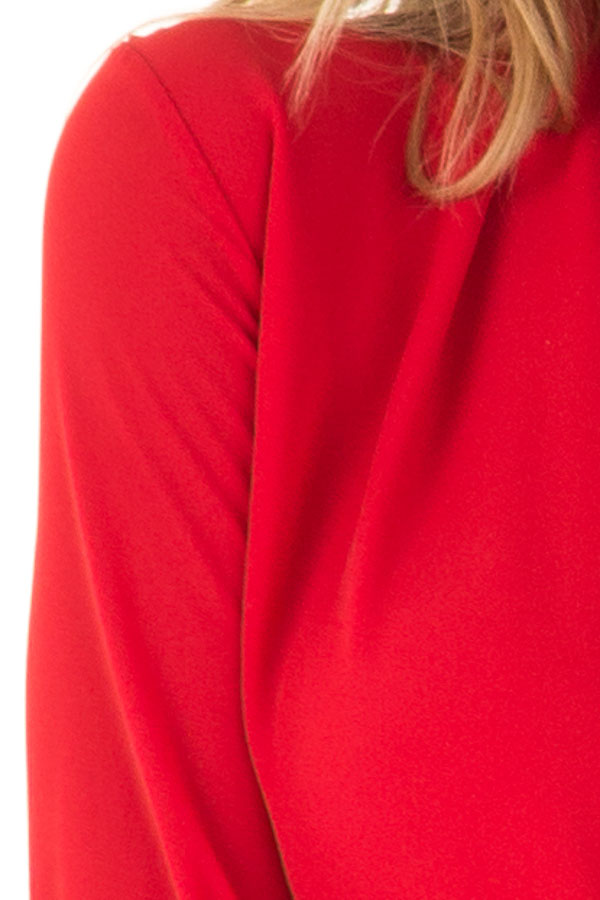 Candy Red Wrap Style Bodysuit with Long Sleeves detail