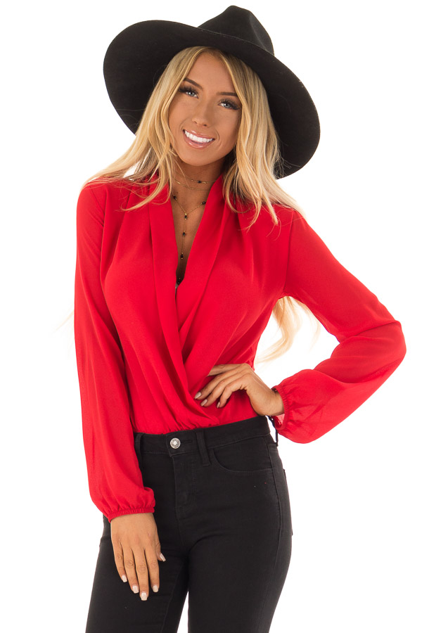 Candy Red Wrap Style Bodysuit with Long Sleeves front close up