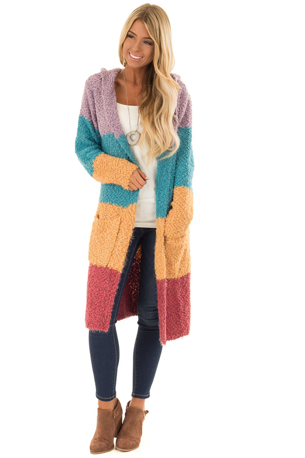 Multi Color Block Soft Knit Cardigan with Hood - Lime Lush Boutique a85c2ea76