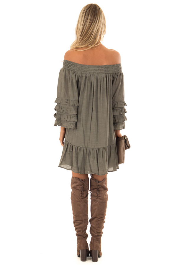 a4da9faaa770 ... Olive Off the Shoulder Mini Dress with Tiered Ruffle Sleeves back full  body ...