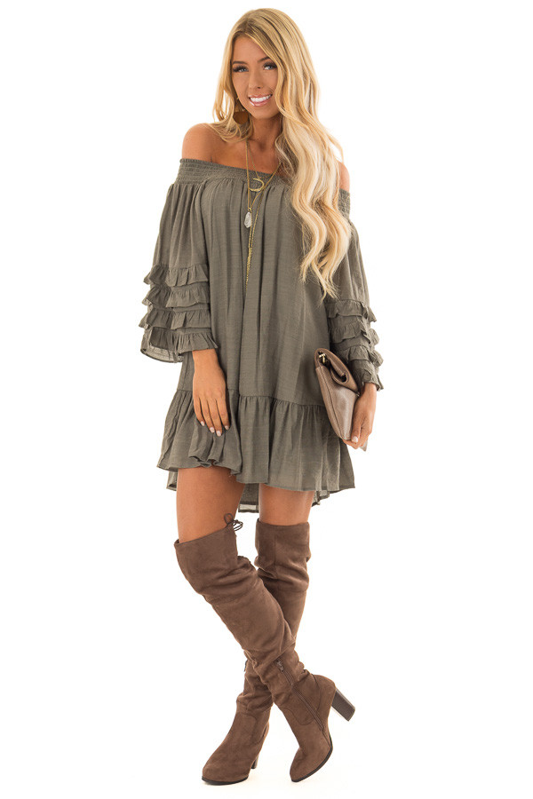579ac86e0865 ... close up · Olive Off the Shoulder Mini Dress with Tiered Ruffle Sleeves  front full body ...