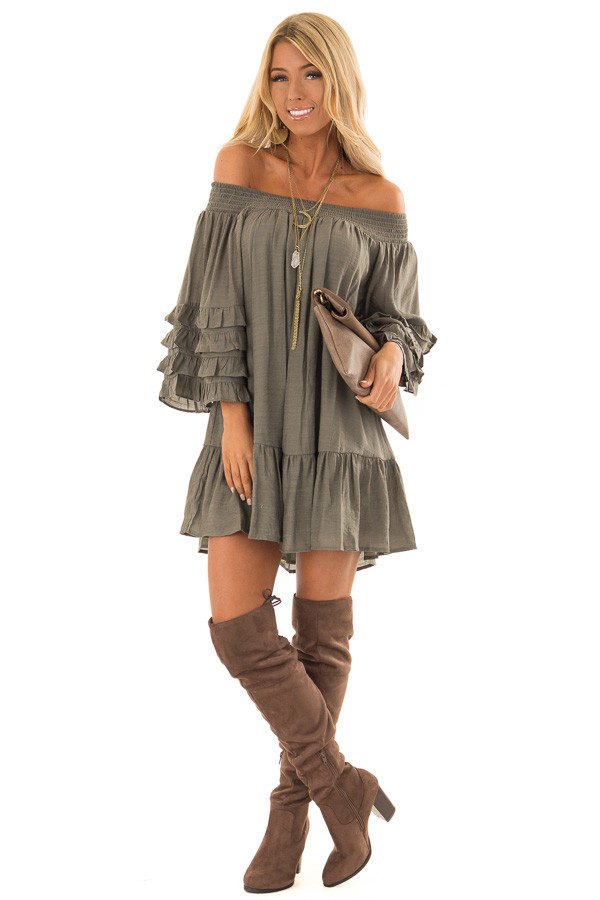 3169b6f90344 ... Olive Off the Shoulder Mini Dress with Tiered Ruffle Sleeves front full  body ...