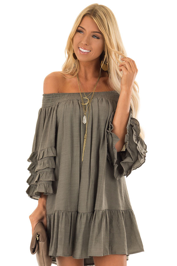 08927f97f055 Olive Off the Shoulder Mini Dress with Tiered Ruffle Sleeves front close up