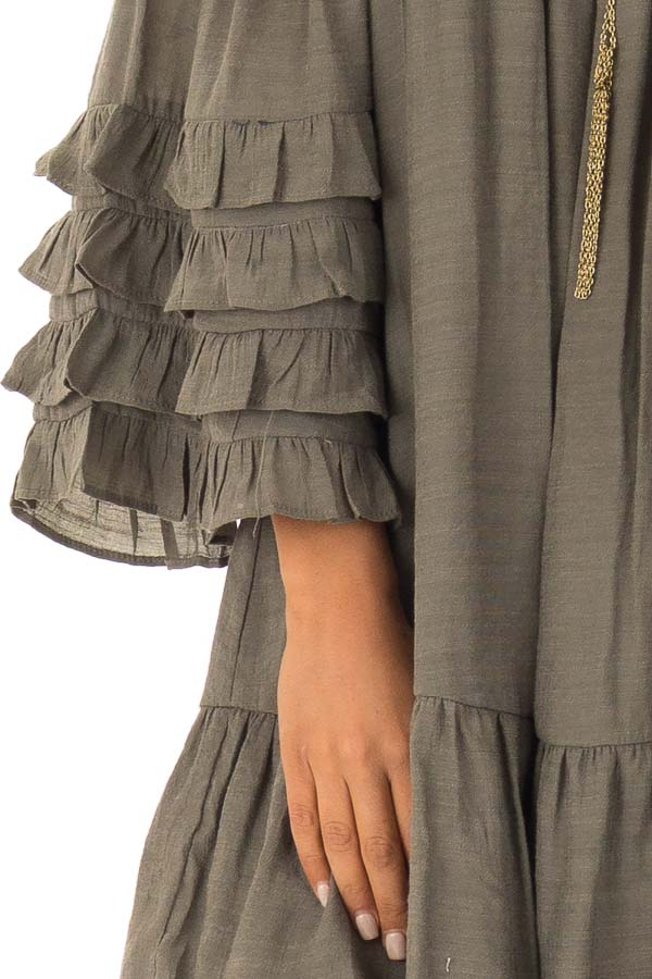 360b068653e5 Olive Off the Shoulder Mini Dress with Tiered Ruffle Sleeves - Lime ...