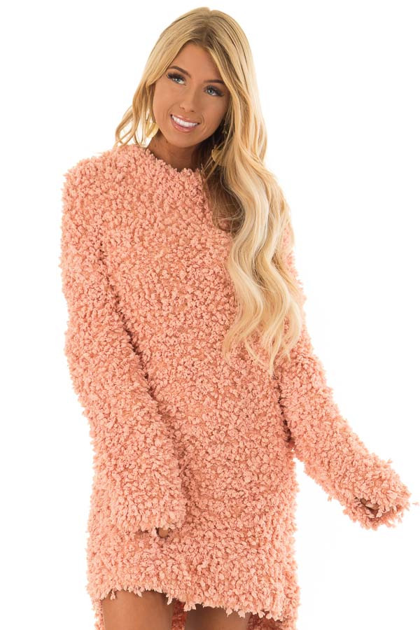 edeaa99c39 Peach Popcorn Knit Long Sleeve Turtleneck Sweater - Lime Lush Boutique