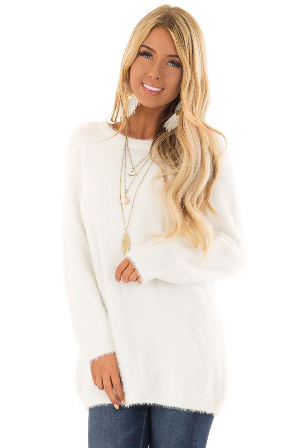 1acca1027a Snow White Long Sleeve Soft Fuzzy Sweater - Lime Lush Boutique