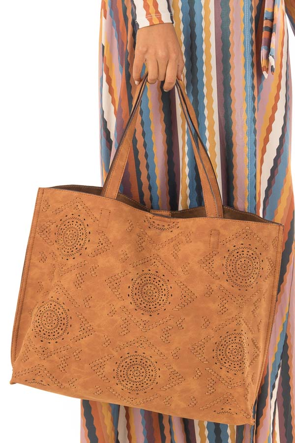 Camel Faux Suede Tote with Perforated Details front full body