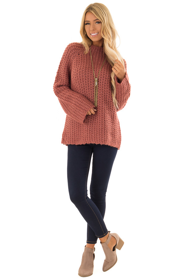 2ffe1085350e ... Marsala Chunky Knit Pullover Sweater with Mock Neckline front full body  ...