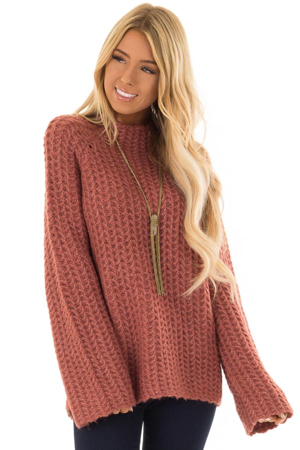 35e6dde51ab0c4 Marsala Chunky Knit Pullover Sweater with Mock Neckline - Lime Lush ...