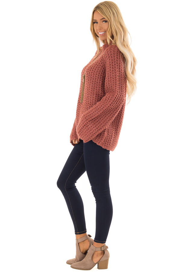 d3acd7055d45 ... Marsala Chunky Knit Pullover Sweater with Mock Neckline side full body  ...