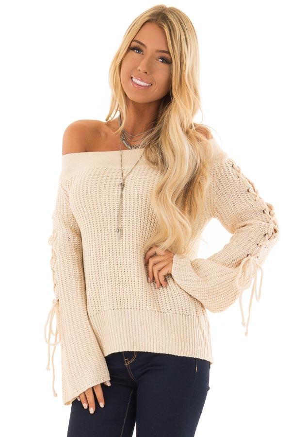 58e0473c5fe Cream Off the Shoulder Sweater with Lace Up Detail - Lime Lush Boutique