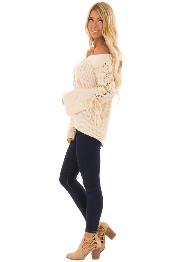 Cream Off the Shoulder Sweater with Lace Up Detail side full body
