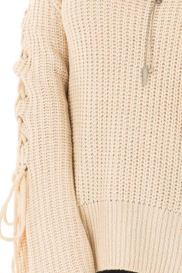 Cream Off the Shoulder Sweater with Lace Up Detail detail